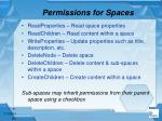 permissions for spaces