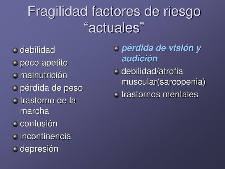 """Fragilidad factores de riesgo """"actuales"""""""