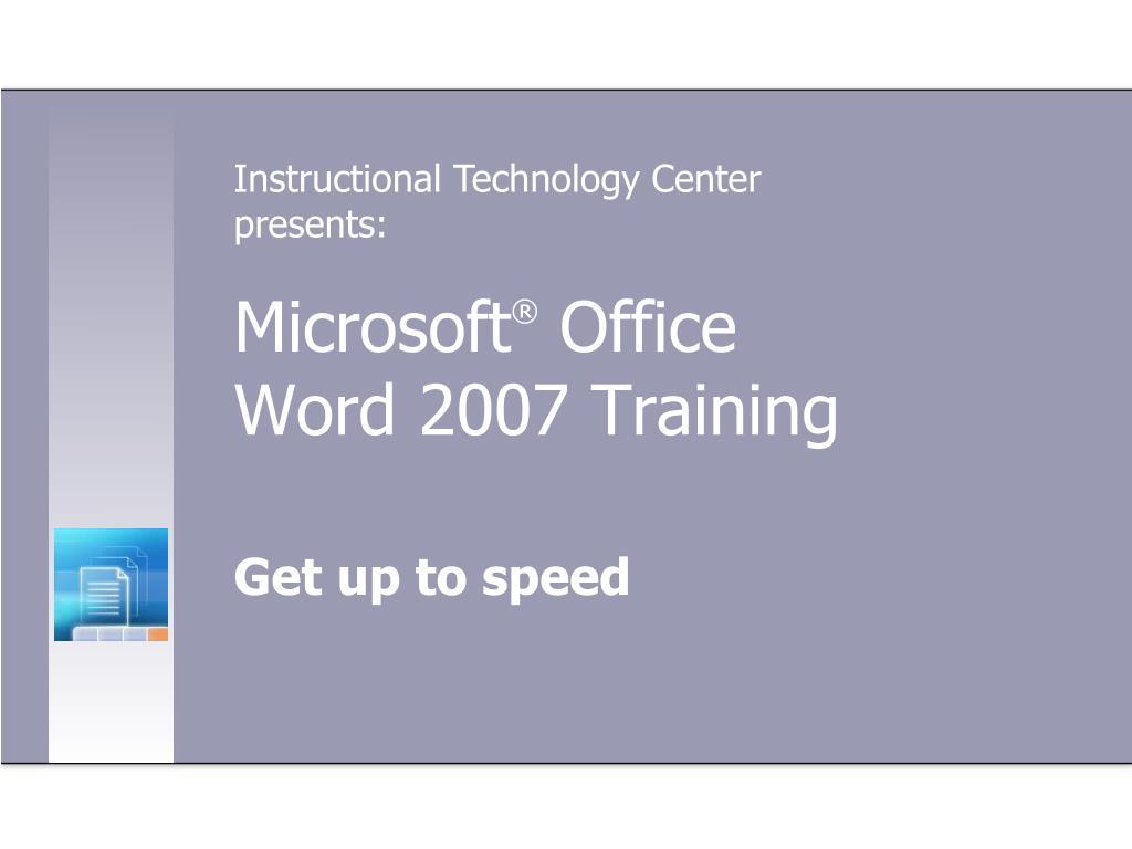 microsoft office word 2007 training