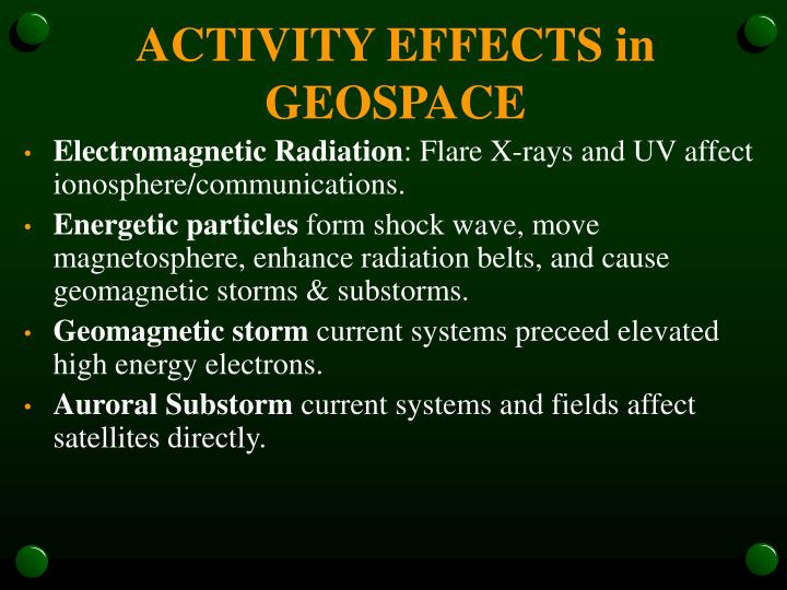 ACTIVITY EFFECTS in GEOSPACE