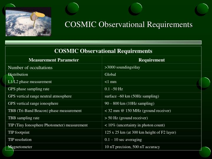 COSMIC Observational Requirements
