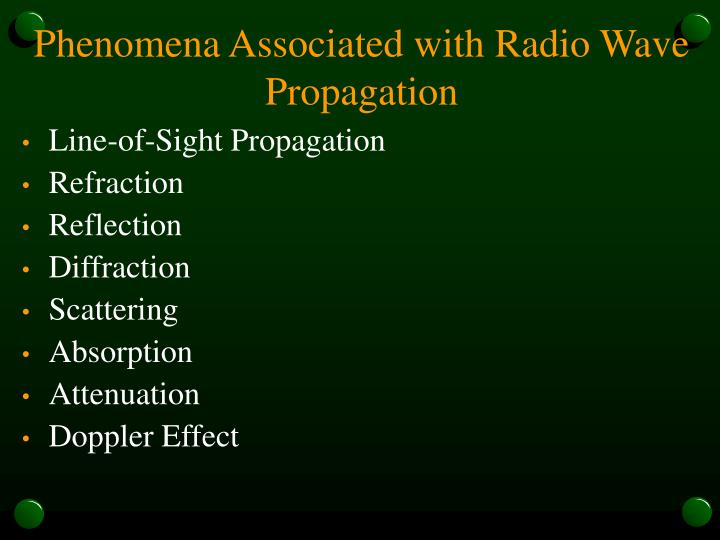Phenomena Associated with Radio Wave Propagation