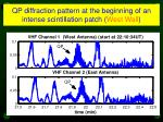 qp diffraction pattern at the beginning of an intense scintillation patch west wall