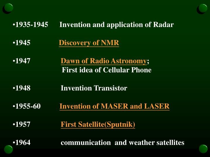 1935-1945      Invention and application of Radar
