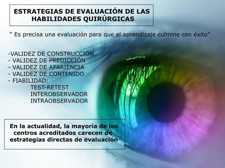 ESTRATEGIAS DE EVALUACIÓN DE LAS