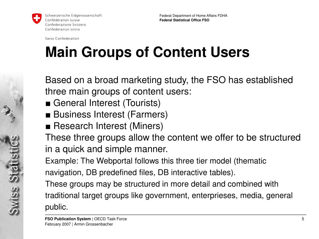 Main Groups of Content Users
