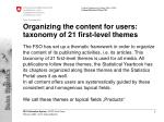 organizing the content for users taxonomy of 21 first level themes
