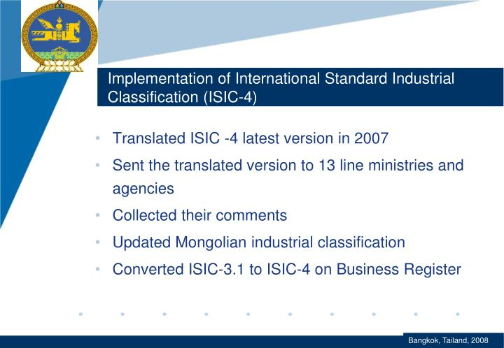 Implementation of International Standard Industrial Classification (ISIC-4)