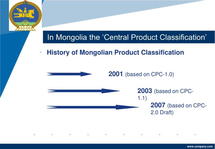 In Mongolia the 'Central Product Classification'