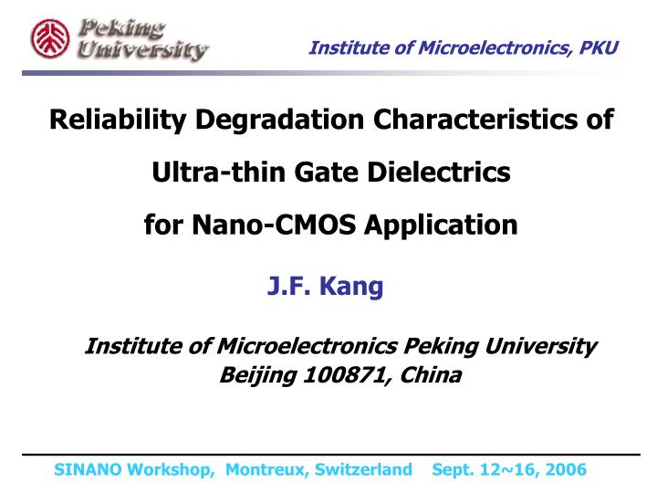 Reliability Degradation Characteristics of