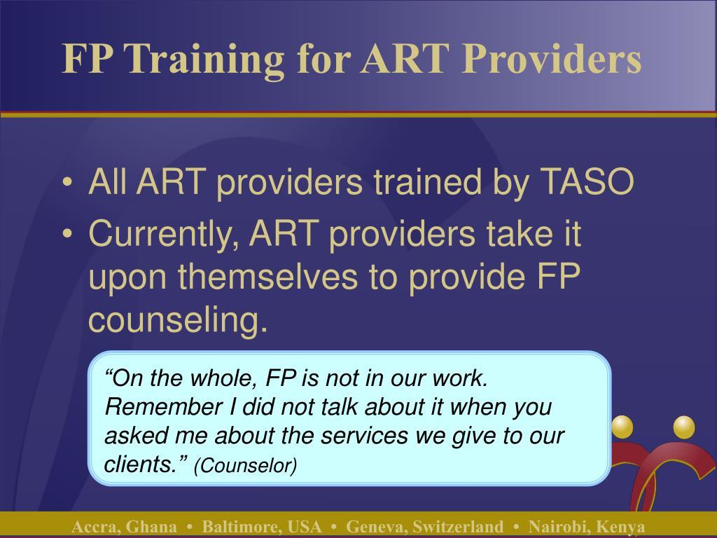 FP Training for ART Providers