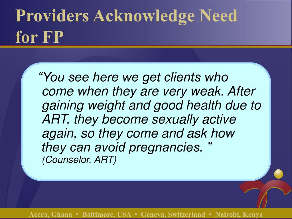 Providers Acknowledge Need for FP