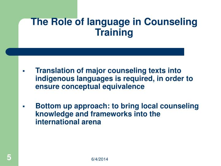 The Role of language in Counseling Training