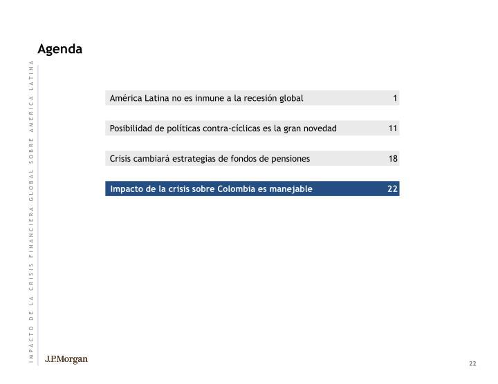 Impacto de la crisis sobre Colombia es manejable