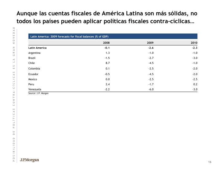 Aunque las cuentas fiscales de América Latina son más sólidas, no todos los países pueden aplicar políticas fiscales contra-cíclicas…