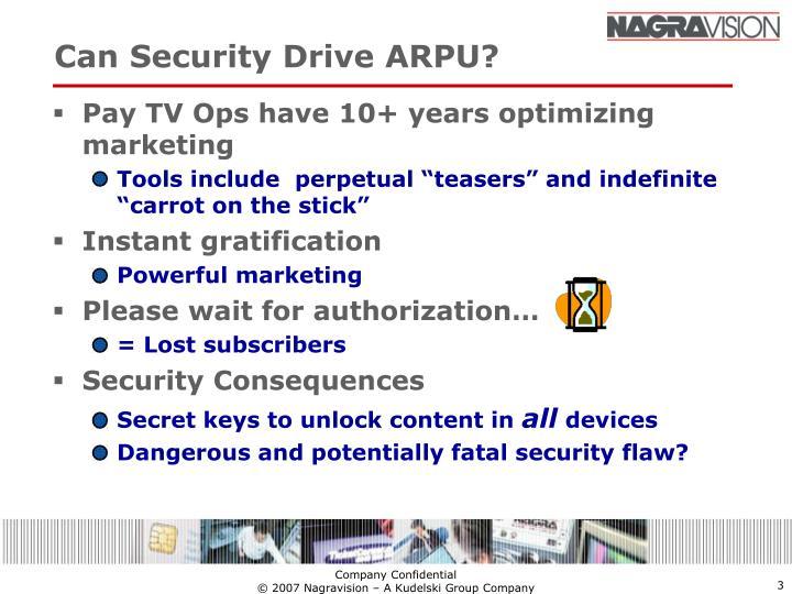 Can security drive arpu