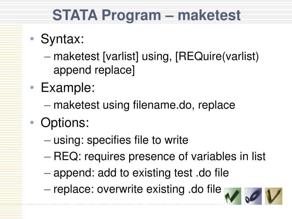 STATA Program – maketest