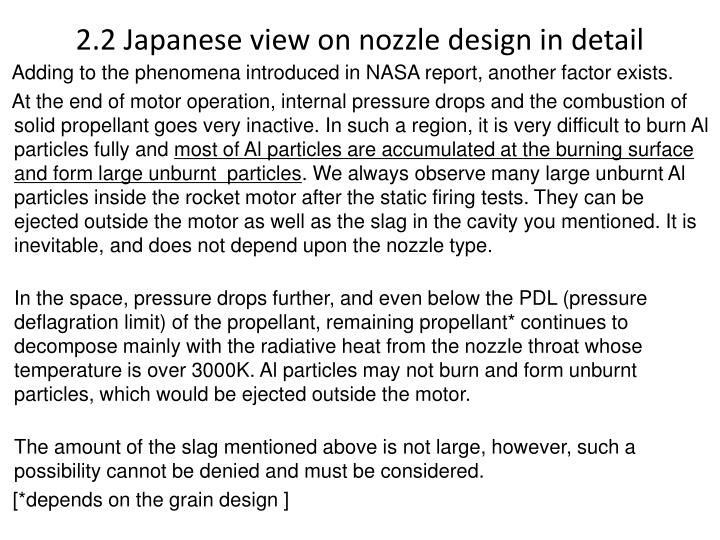 2.2 Japanese view on nozzle design in detail
