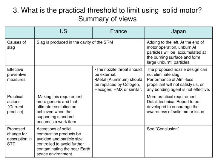 3. What is the practical threshold to limit using  solid motor?