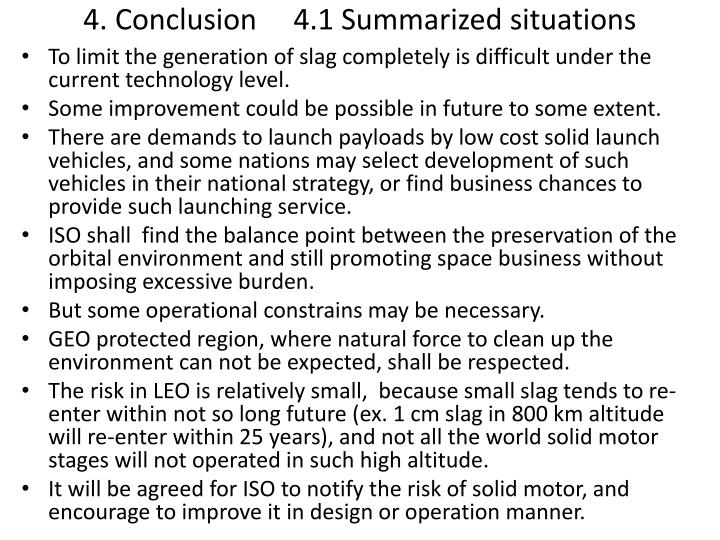 4. Conclusion     4.1 Summarized situations