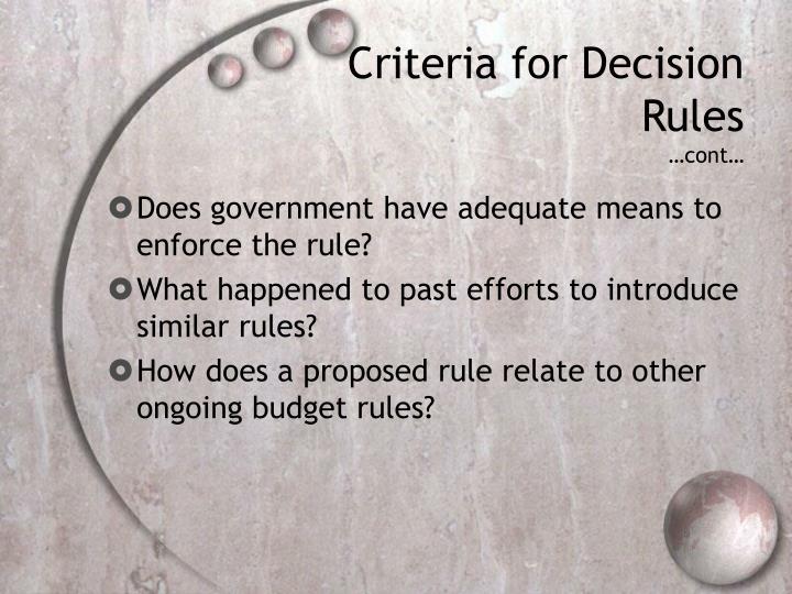 Criteria for Decision Rules