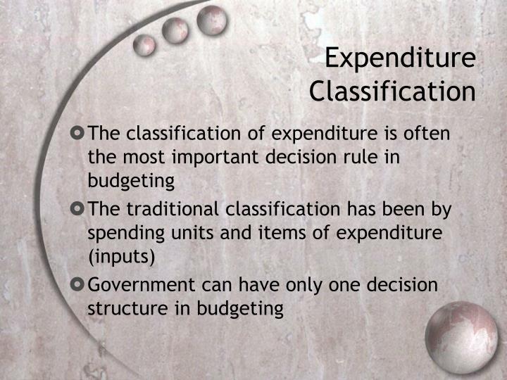 Expenditure Classification