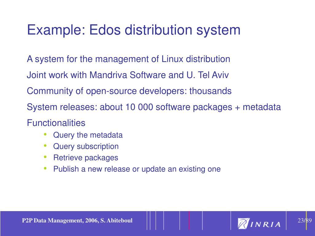 Example: Edos distribution system