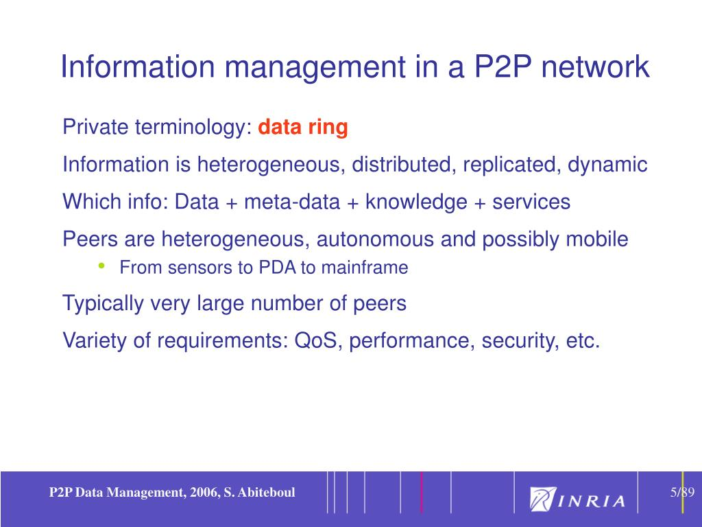 Information management in a P2P network