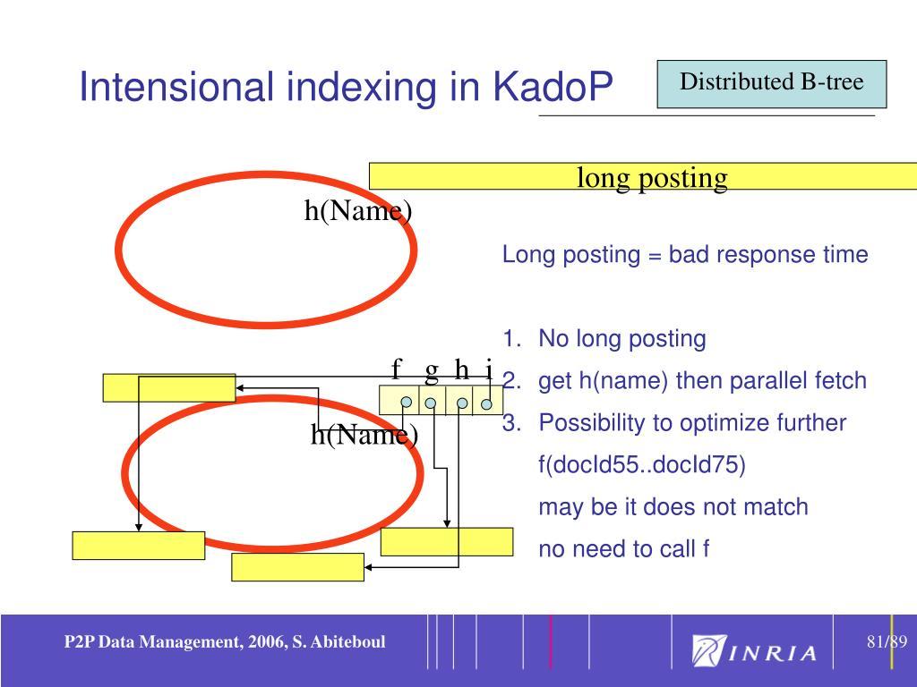 Intensional indexing in KadoP