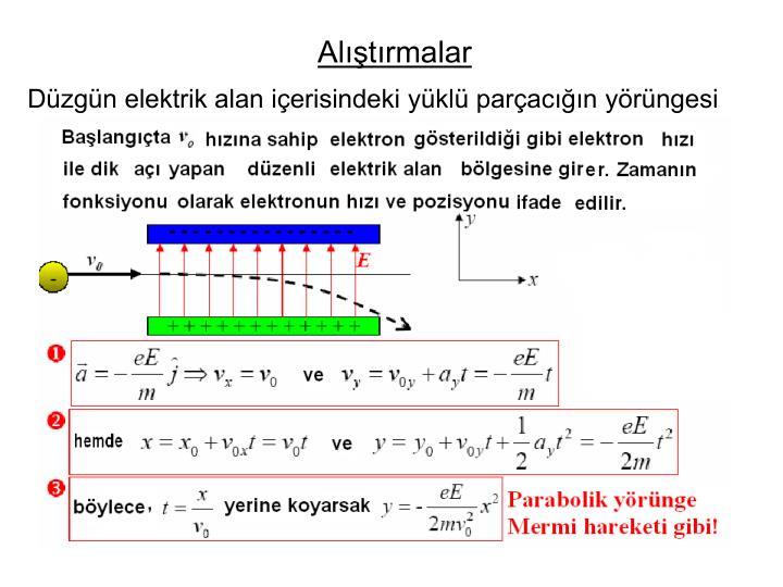 Düzgün elektrik alan içerisindeki yüklü parçacığın yörüngesi