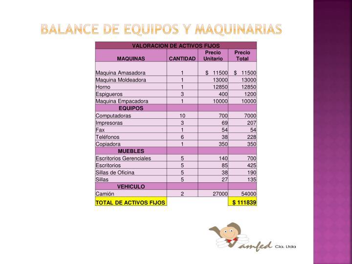 BALANCE DE EQUIPOS Y MAQUINARIAS