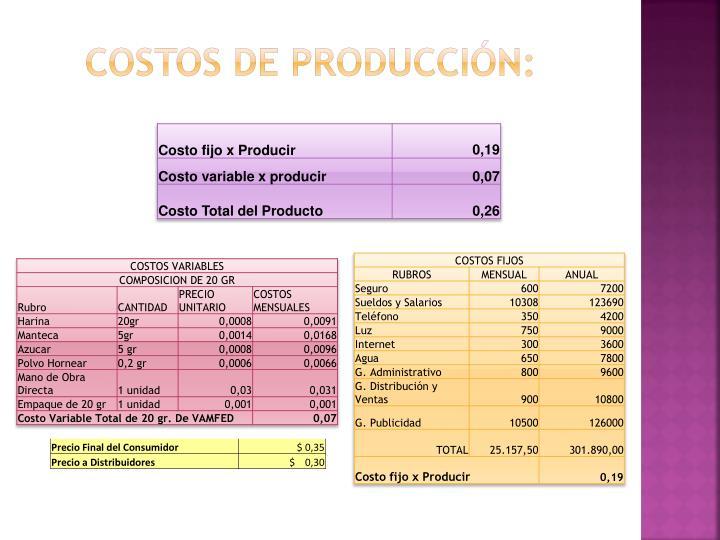 Costos de producción:
