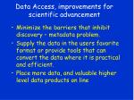 data access improvements for scientific advancement