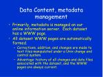data content metadata management