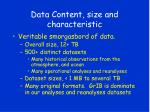 data content size and characteristic