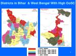 districts in bihar west bengal with high oosc