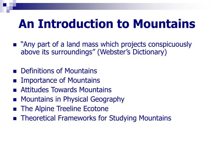an introduction to mountains n.
