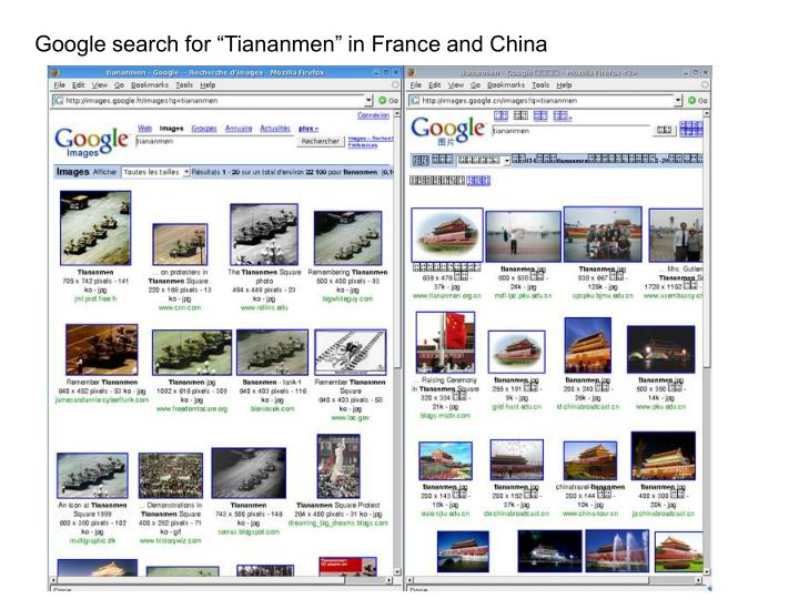 "Google search for ""Tiananmen"" in France and China"