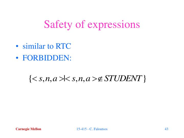 Safety of expressions