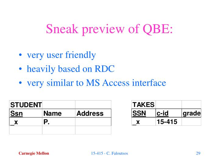 Sneak preview of QBE: