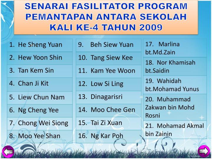 SENARAI FASILITATOR PROGRAM PEMANTAPAN ANTARA SEKOLAH KALI KE-4 TAHUN 2009