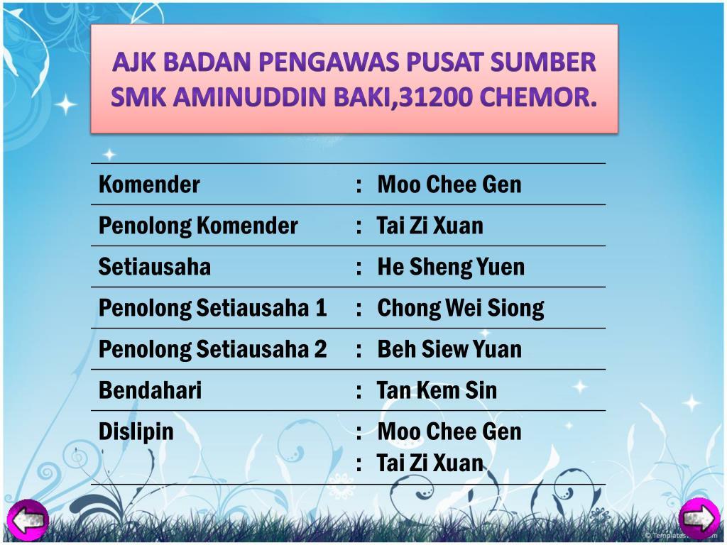 AJK BADAN PENGAWAS PUSAT SUMBER SMK AMINUDDIN BAKI,31200 CHEMOR.
