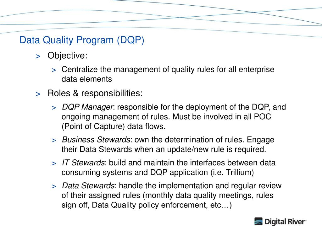 Data Quality Program (DQP)
