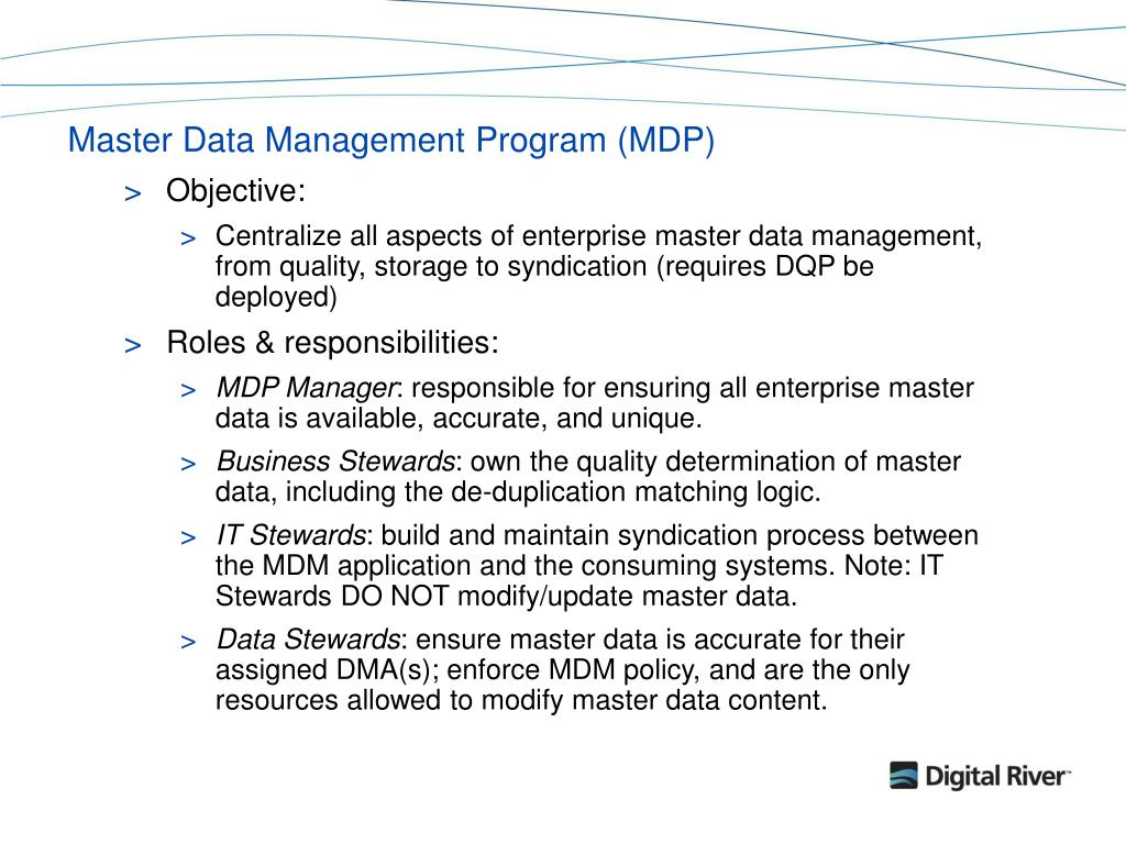 Master Data Management Program (MDP)