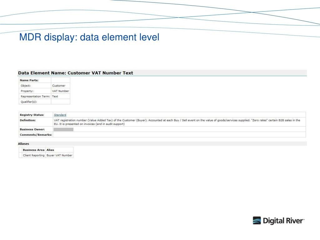 MDR display: data element level