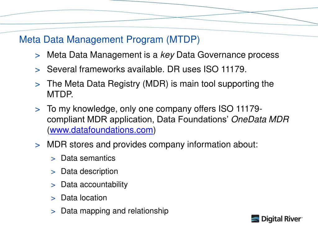 Meta Data Management Program (MTDP)