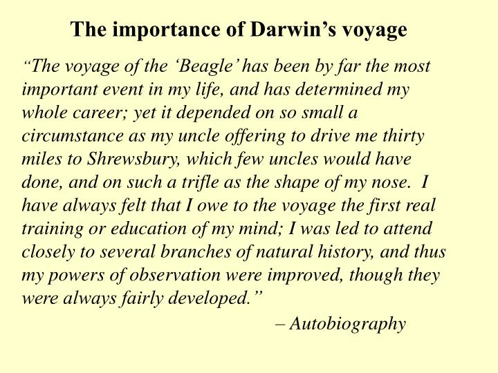 The importance of Darwin's voyage