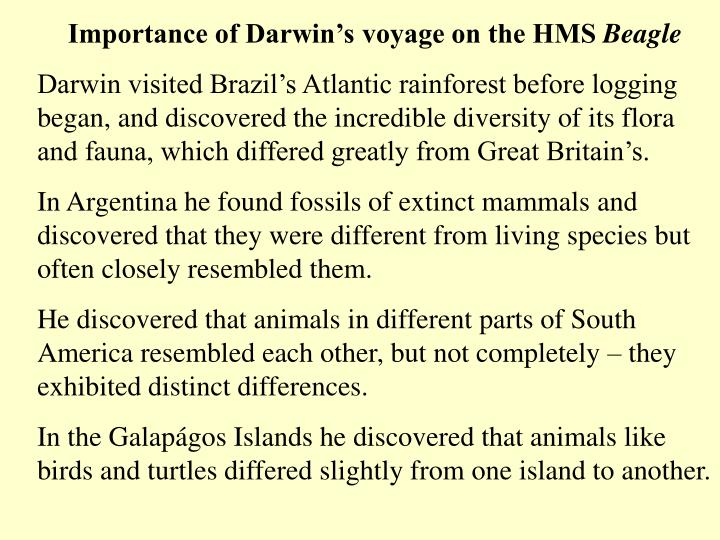 Importance of Darwin's voyage on the HMS