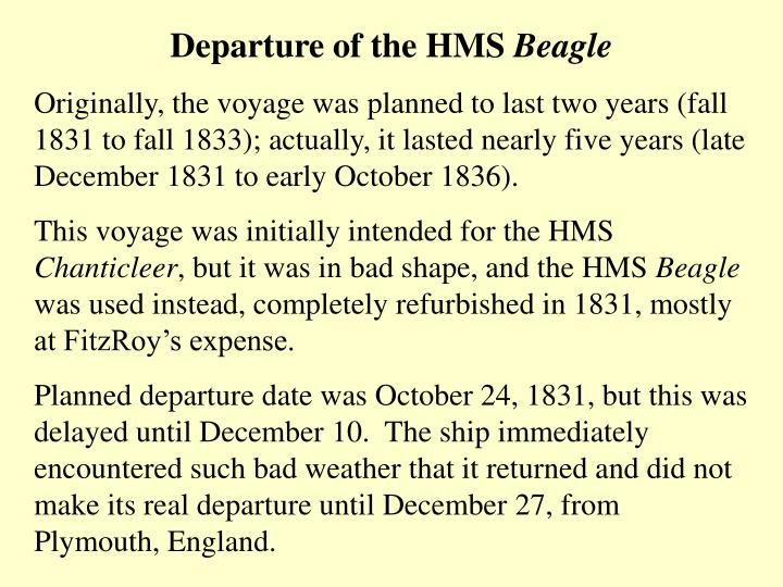 Departure of the HMS