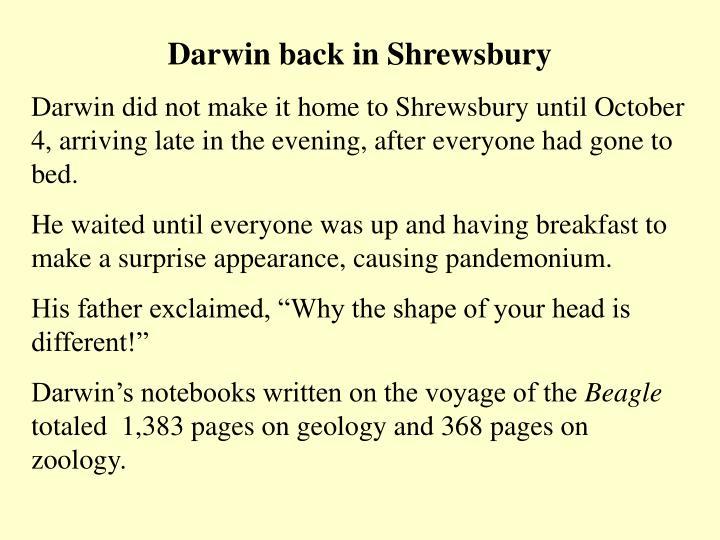 Darwin back in Shrewsbury